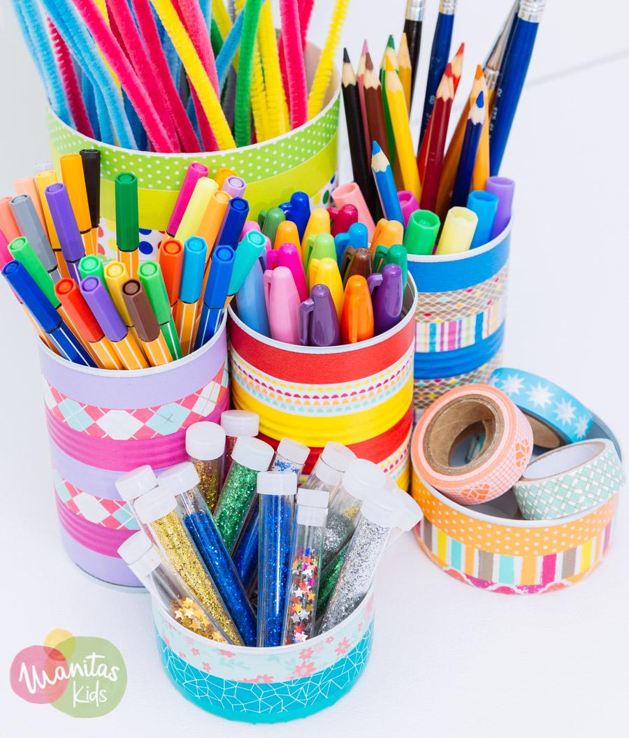 Lapicero con latas y cintas washi for Lapiceros reciclados manualidades
