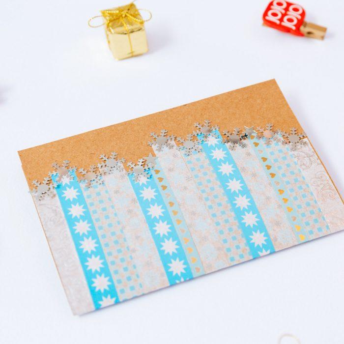 Tarjeta fácil de Navidad con cintas washi